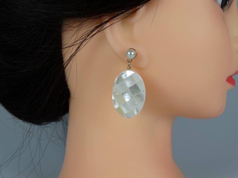 Cercei perle si piatra sidef