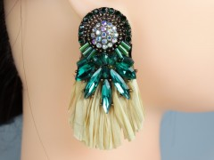 Cercei rotunzi cristale verzi si paie - handmade