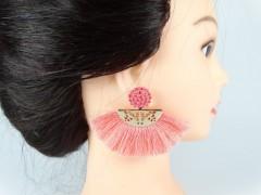 Cercei roz - aurii cu ciucuri