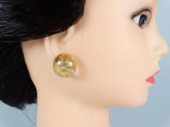 Cercei tip cabochon cu insertii aurii