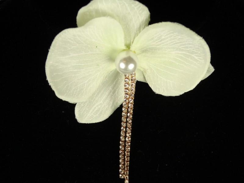 Cercel floare cu perluta si cristale
