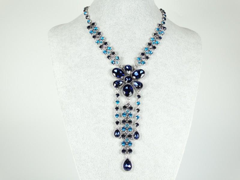 Colier floare cristale albastre