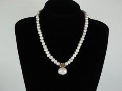 Colier perle alb sidef si auriu