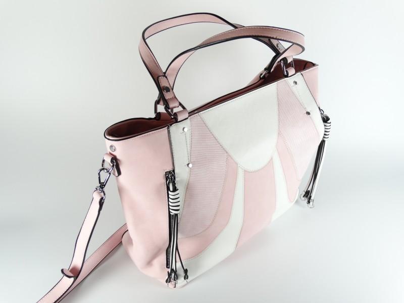Geanta alb-roz tip shopper