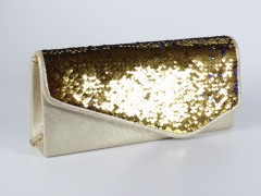 Geanta aurie cu paiete aurii si albastre