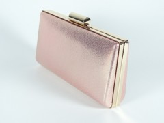 Geanta ocazie tip caseta - roz metalic
