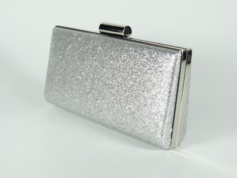 Geanta ocazie tip caseta - sclipici argintiu