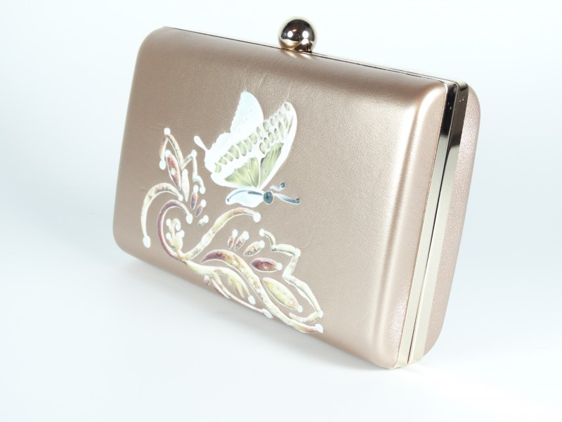Geanta tip caseta rose gold fluture