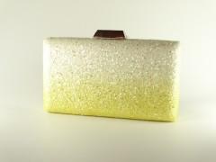Geanta tip caseta sclipici alb galben