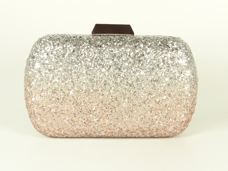 Geanta tip caseta sclipici argintiu roz