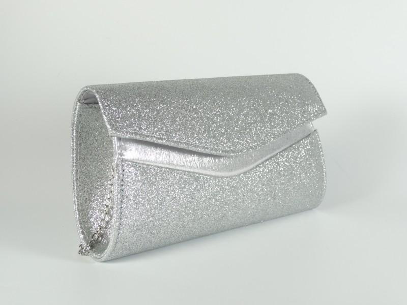 Geanta tip plic argintie cu sclipici