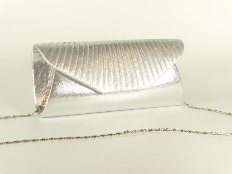 Geanta tip plic pliuri argintii