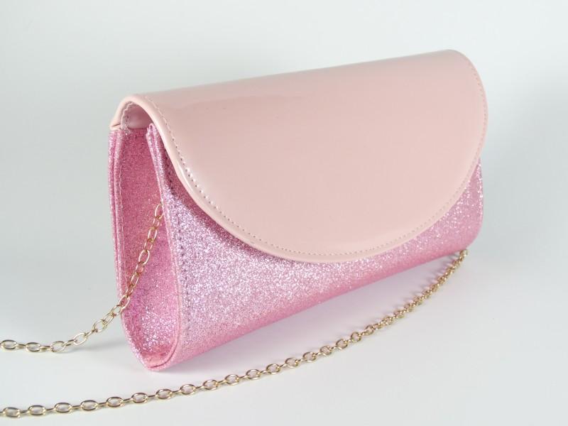 Geanta tip plic sclipici roz