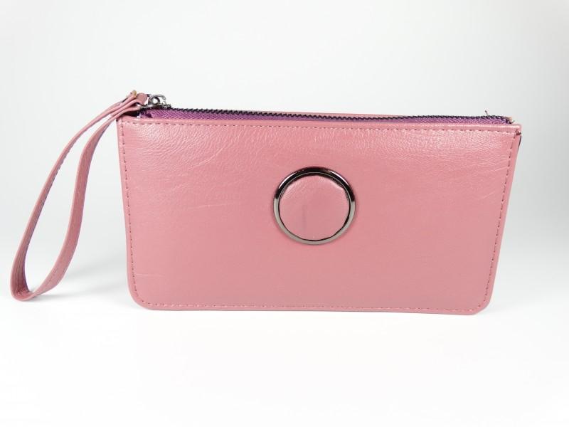 Portofel roz cerc metalic