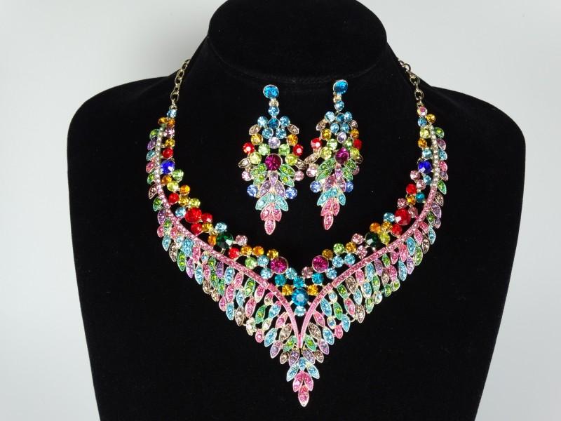 Set colier si cercei cristale multicolore