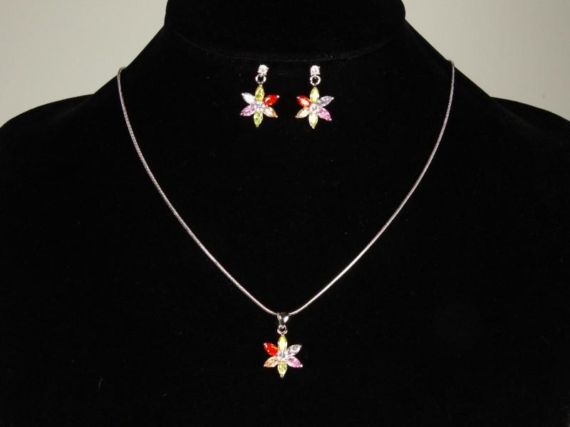 Set lantisor si cercei floricele multicolore