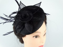 Voaleta - palarie model floral pene negre